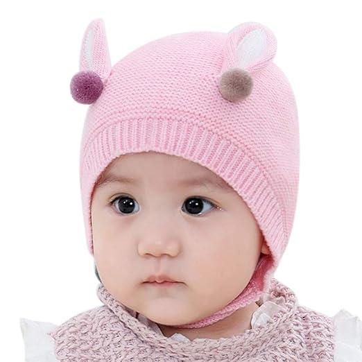 cc592b8e5919b9 Amazon.com: Weixinbuy Infant Toddler Girls Boys Winter Warm Knit Cap Baby  Crochet Beanie Earflaps Hat: Clothing
