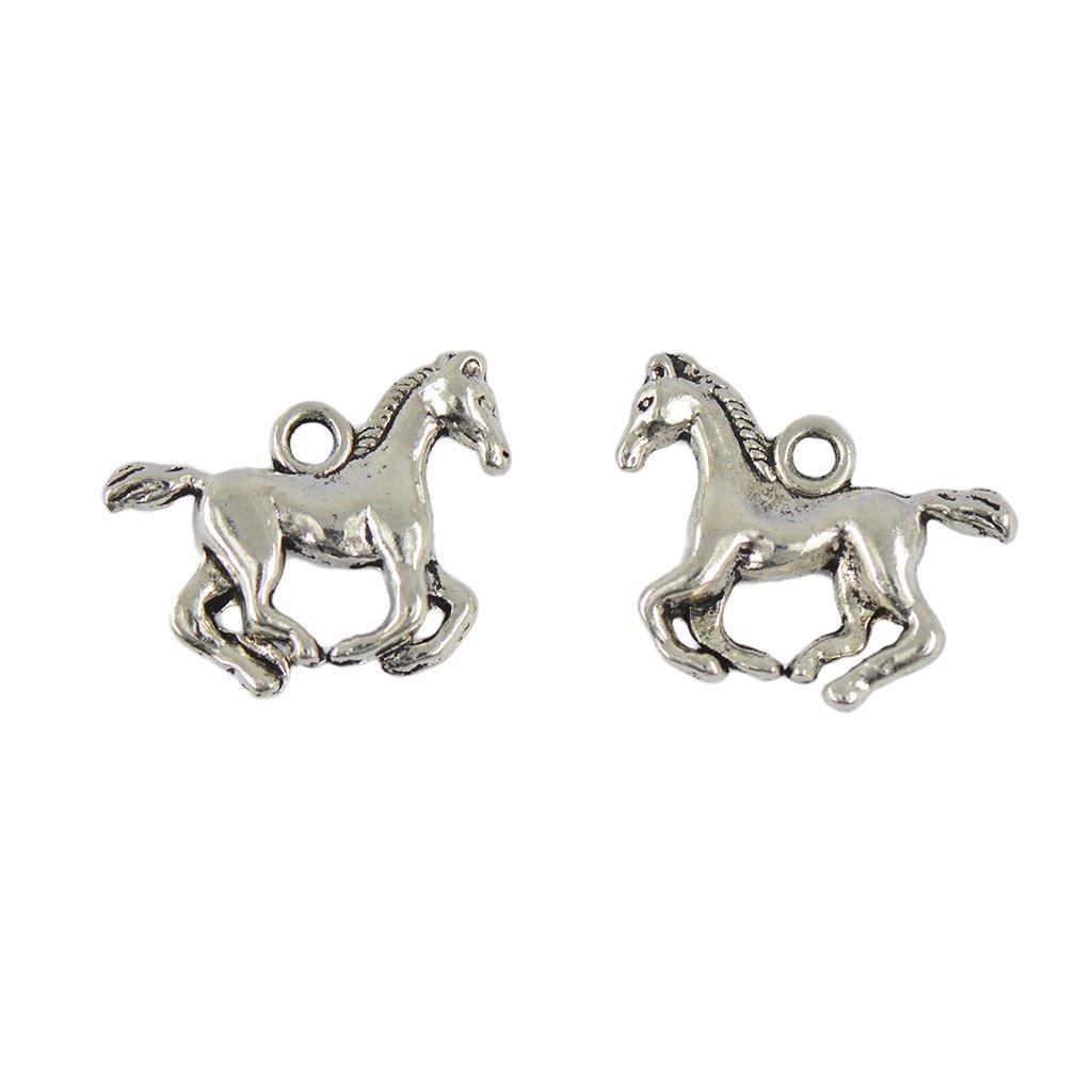 MagiDeal 30Pcs Tibetan Silver 3D Running Horse Charms Pendants DIY Jewelry Making