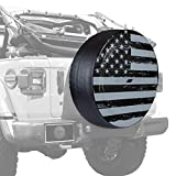Boomerang - 32'' Rigid JL Tire Cover - (Hard Plastic Face & Vinyl Band) for use with 2018-2019 Jeep Wrangler JL (with Back-up Camera) - Black Out American Flag