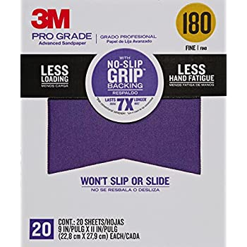 3M 26180CP-P-G 180 Grit Pro Grade No-Slip Grip Advanced Sandpaper (20 Pack), 9 x 11
