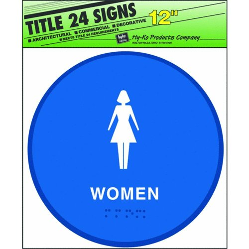 "Hy-ko Products T-24W Women Bathroom Ada Approved 12"" x 12..."