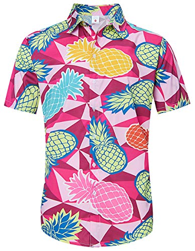 TUONROAD Men Boy Youth 80s Tropical Beach Theme Hawaiian Island Shirt Red Brown Geometric Triangle Plaid Cool Quick Dry V Neck Short Sleeve Shirt Novelty Unique Vegas Custom Button Down Shirt