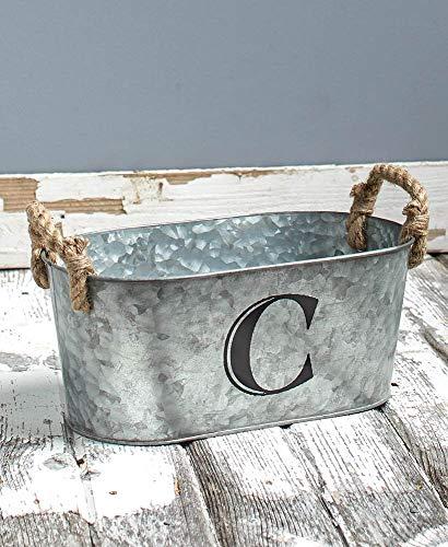 Galvanized Monogram Bucket, C
