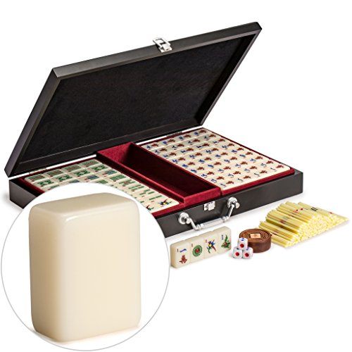 "Yellow Mountain Imports Chinese Mahjong (Mah Jong, Mahjongg, Mah-Jongg, Mah Jongg, Majiang) Set with Numbered Tiles, Accessories, and Compact Wooden Case, ""Pro Set"""