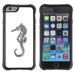 KROKK CASE Apple Iphone 6 PLUS 5.5 - seahorse art drawing pencil graphic - Funda Carcasa Bumper con Absorción de Impactos y Anti-Arañazos Espalda Slim Rugged Armor