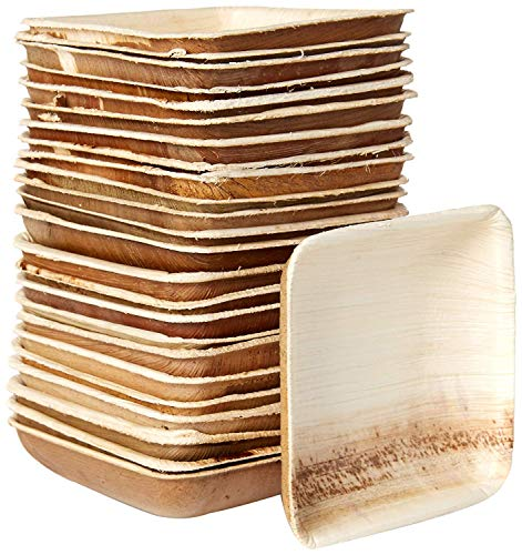 Small Palm Leaf Plates - Environmentally disposable tableware | 25 pieces | 3 Inches square | Bamboo Style | Biodegradable & Compostable