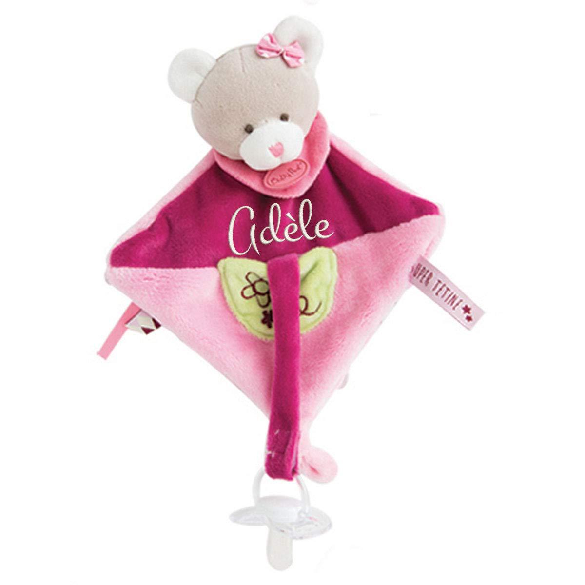 Doudou attache porte tétine à broder avec prénom- cadeau liste de naissance - cadeau personnalisé naissance - cadeau personnalisé bébé