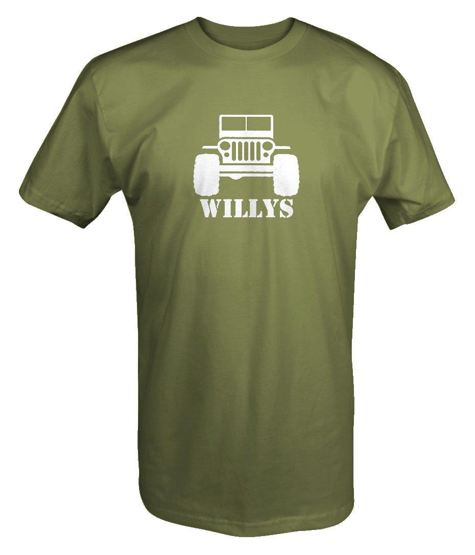 Willys Jeep Military CJ Flat Fenders Split Grill T shirt - Xlarge