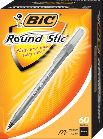 (BIC : Round Stic Ballpoint Pen, Translucent Barrel, Black Ink, Med Pt, 1.0 mm, 60/pk -:- Sold as 2 Packs of - 60 - / - Total of 120)