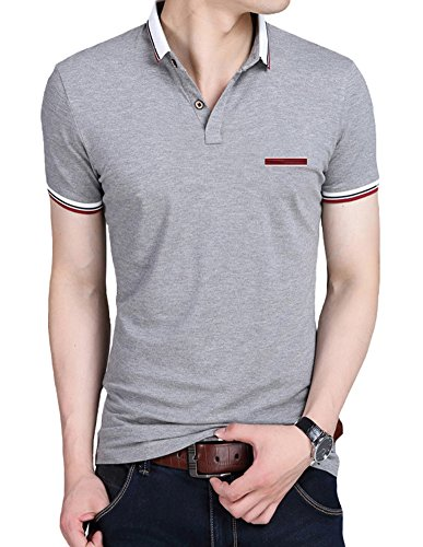 Mens Polo Shirts Lovelelify Short Sleeve Slim Fit Polo T Shirts US M/Asian 3XL Gray HD6369 by Lovelelify Men Clothing (Image #1)
