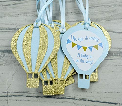 Up Up and Away Hot Air Balloon Baby Shower Favor Tags -Set of 12 - Light Blue and Gold ()