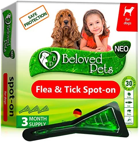 Flea and Tick Prevention for Dogs and Cats - Natural Flea Treatment for Pets Kittens Puppies - 100% Immediate Super Effect - 3 Months Supply - Flea and Tick Repellent Control