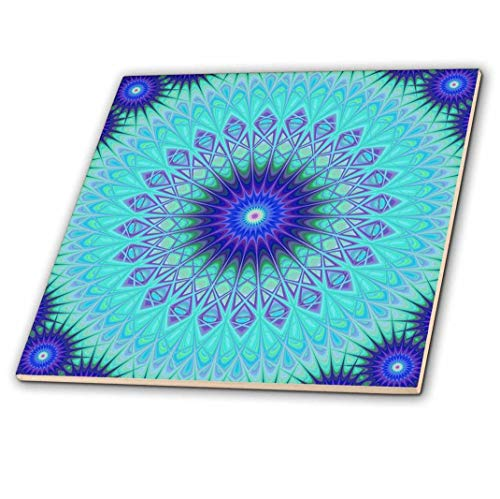 - 3dRose Frozen Mandala Blue Abstract Design 12 Decorative Tiles, Inch-Ceramic, Clear