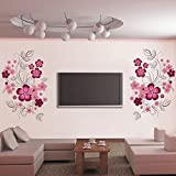 Purple Flowers Leaves Wall Decal Home Sticker Paper Removable Living Room Bedroom Art Picture DIY Mural Girls Boys kids Nursery Baby Playroom Decoration + Gift Colorful Butterflies