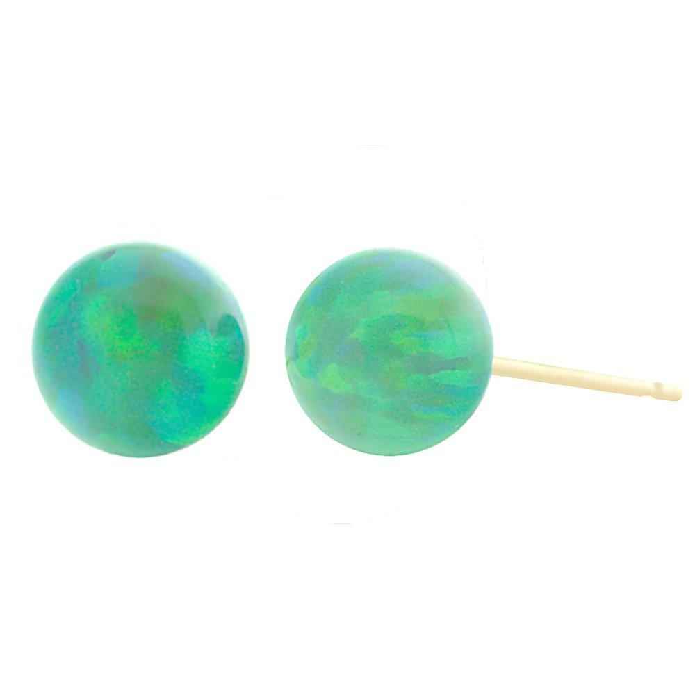 Trustmark 14K Yellow Gold Kiwi Green Synthetic Opal Ball Stud Post Earrings