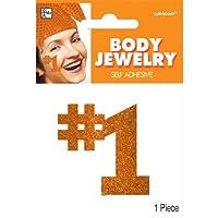 "Party Perfect Team Spirit Orange ""#1"" Glitter Body Jewelry Accessory, Orange, Paper, 2"" x 2"""