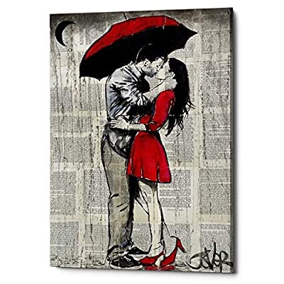 "Epic Graffiti""Red Rainy Love"" by Loui Jover, Giclee Canvas Wall Art, 12""x18"""