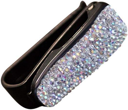 Sizet Sun Glasses Holder Clip Rhinestone Shining Fashion Bling Crystal Car Sun Visor Glasses with Card Ticket Clip