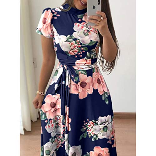 S de de Oscuro Larga Floral Azul Playa Mujeres Falda Slim Fit 6XL Retro Cuello Vestido A de Vestido Redondo Vestido Print Cinturón TnwRxqZx