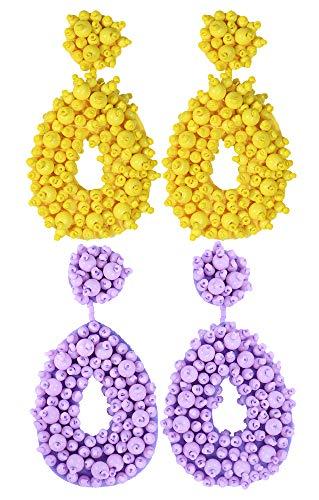 2 Pairs Statement Dangle Earrings for Women - Bohemian Beaded Round Drop Earrings Long Chandelier Earrings Idea Gift Yellow Light Purple
