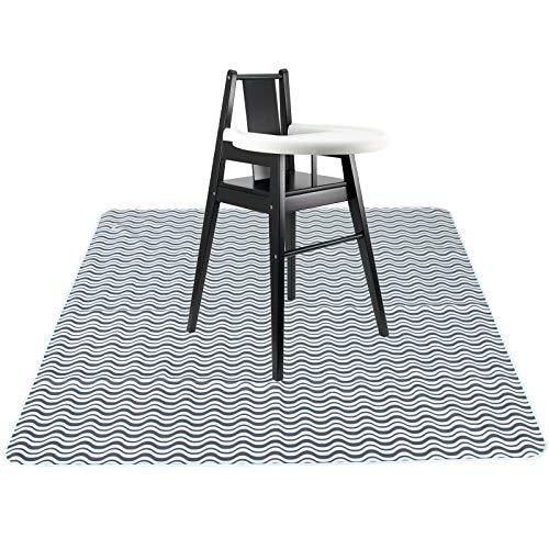 Langsprit 53'' Splat Mat for Under High Chair - Washable Splash Mat Anti-Slip Mess Mat Portable Play Mat,Table Cloth for Art/Crafts,Wave