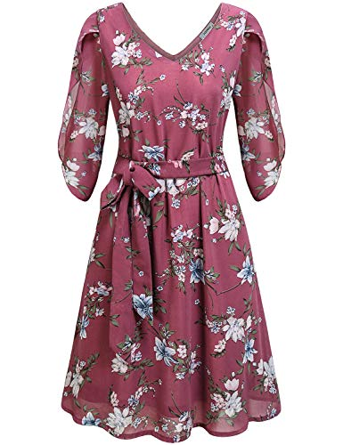 Tunic Dresses for Women, Female Plain Feminine V Neck 3/4 Sleeve Tie Waist Summer Casual Pleated Floral Printed Chiffon A-Line Bridesmaid Prom Dress Fuchsia M