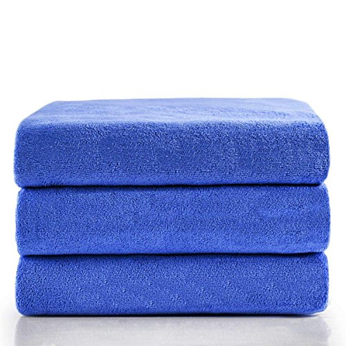 JML Microfiber Bath Towels, Bath Towel 3 Pack(27″ x 55″), Soft, Super Absorbent and Fast Drying, Multipurpose Use for Sports, Travel, Fitness, Yoga – Blue