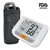 Homemaxs Upper Arm Blood Pressure Monitor with Adjustable Cuff, Upper Arm Design with Large Screen Digital Display, Accurate, Portable Case, FDA Approved