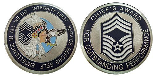 "Air Force ENLISTED RANKS - Chief Master Sergeant ""E9'' Challenge Coin / Logo Poker / Lucky Chip"