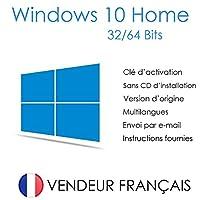 Windows 10 Home (Famille) 32/64 Bits Licence - Français - Clé d'activation originale et livraison gratuite par e-mail - Assistance et instructions (Satisfait ou remboursé)