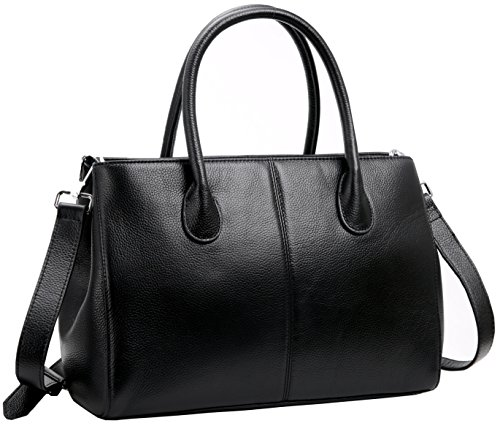 Womens High Quality Genuine Leather Leisure Top-Handle Bags (Black) - 3