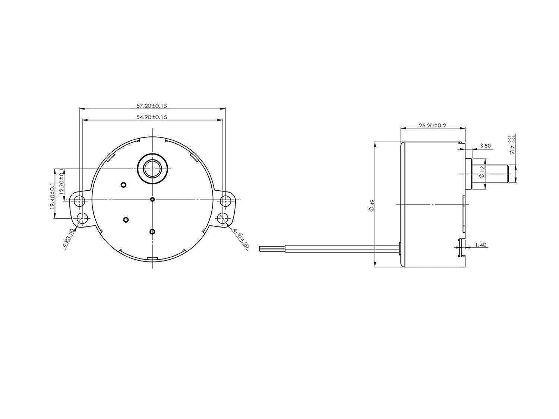 12 V- Gleichstrom-Getriebemotor TDY-12 15 U//min 0,18 A