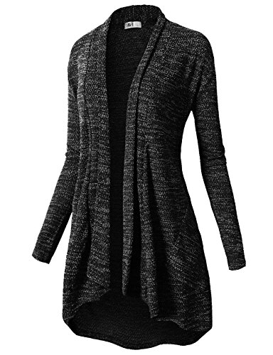 H2H Womens Casual Loose Fit Open Front Cardigan Long Sleeve Lightweight Draped Long Line