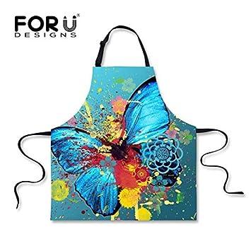 WQQUN Ajustable Novetly Mariposa Patrón De Cocina Delantales para Mujeres Divertido Pintura Al Óleo De Impresión