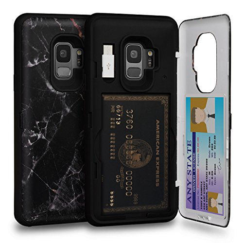 TORU CX PRO Galaxy S9 Wallet Case Pattern with Hidden Credit Card Holder ID Slot Hard Cover, Mirror & USB Adapter for Samsung Galaxy S9 - Black Marble