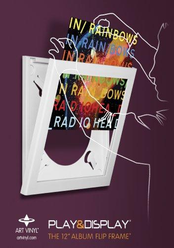 Art Vinyl Play & Display Vinyl, Displays Covers, 12.5x12.5, White Album Record Frame, Single,