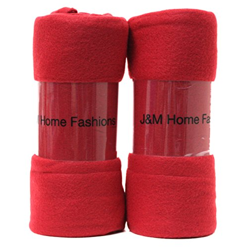 J & M Home Fashions Solid Fleece Throw (2 Pack), 50
