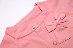 Lymanchi Little Girls\' Pearl Bow Long Sleeve Button Front Knit Cardigan Sweater Pink 6