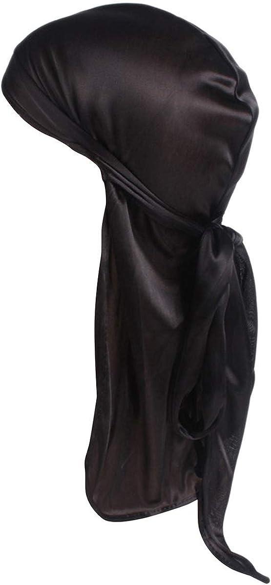 Century Star Satin Silk Head Wrap Durag Long Tail Beanies for Men Headwraps Cap