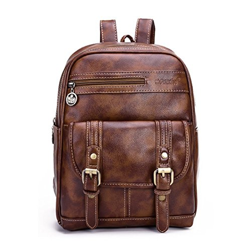 HANXIN Women s Small Vintage PU Leather Backpack School Bag Shoulder Bag  (Brown) eac30f49f31fa