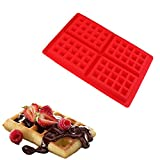 Doshop 4-Cavity Non-stick Silicone Rectangle Waffle Mold DIY Chocolate Baking Cooking Tool Red (Red)