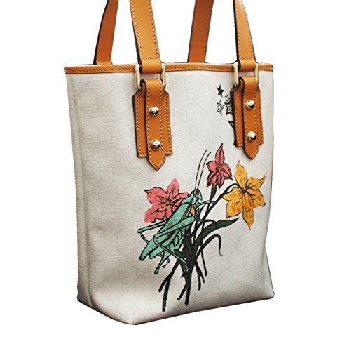 Gucci White Grasshopper Floral Tattoo Tote Bucket Handbag