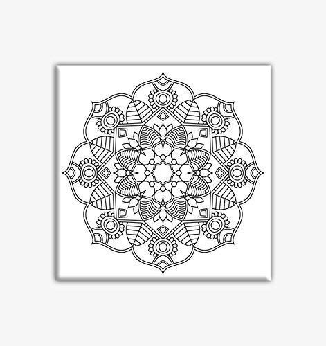 Flower Mandala Coloring Canvas For Adults, Stretched primed canvas to color 8 x 8 Inches from Different Strokes Arts