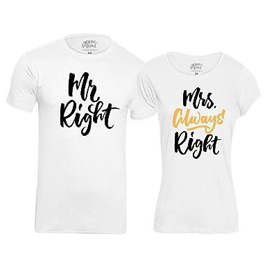 00b16f7e Bon Organik Mrs. Always Right Couple Tshirts/Printed Cotton T-Shirts for Men