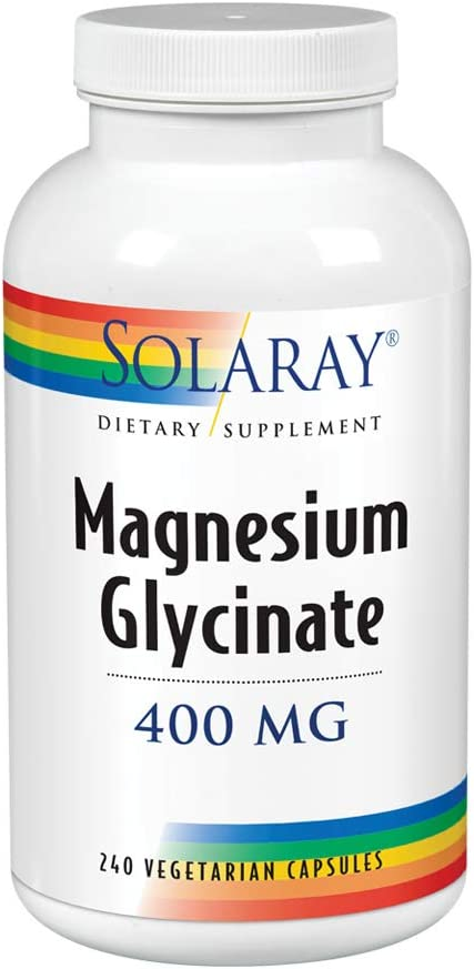 Solaray Magnesium Glycinate 400 Milligram | May Support Bone and Cardiovascular Health | Enhanced Absorption