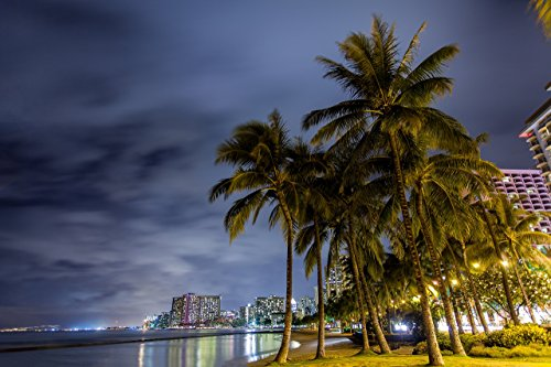 Palm trees in front of hotels with lights reflecting off the water at night at Kuhio Beach (aka ''Walls'') in Waikiki, Oahu, Hawaii print picture photo photograph fine art by Mike Krzywonski Photography