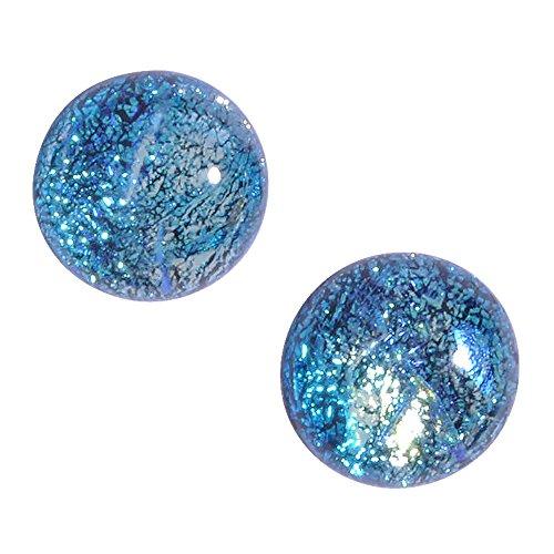 Cosmic Earrings - Nickel Smart - Nickel Free Blue Dichroic Glass Earrings for Women