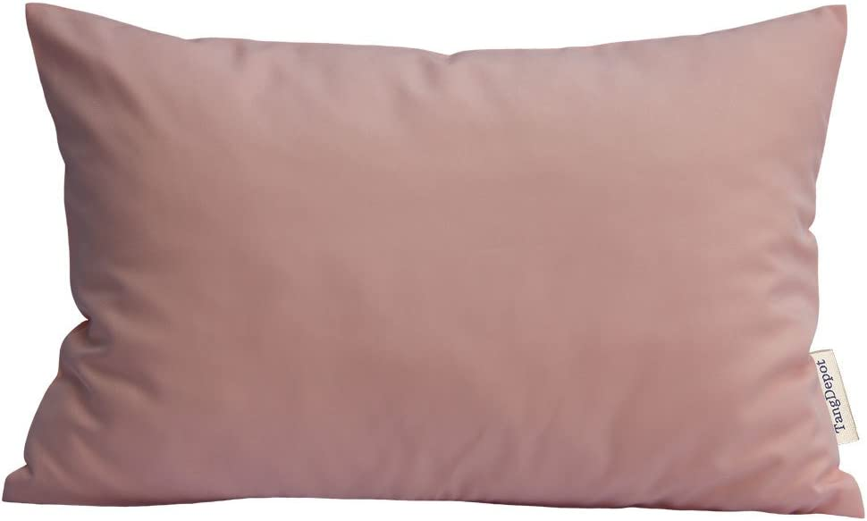 "TangDepot Durable Faux Silk Solid Pillow Shams, Rectangle Pillow Covers, Decorative Cushion Cover Pillowcase, Throw Pillow Covers - (12""x18"", Cream Blush)"