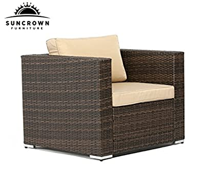 Suncrown Outdoor Furniture All Weather Brown Checkered Wicker Sofa Chair | Additional Chair for 6-Piece Sets