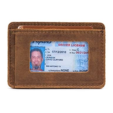 Saddleback Leather Co. Slim Full Grain Leather Front Pocket ID Window Wallet for Men Includes 100 Year Warranty WA-SM-CB
